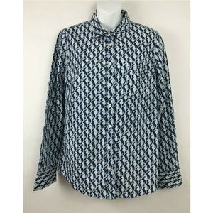 J Crew Boy Shirt in Seahorse Print Linen Blouse 6